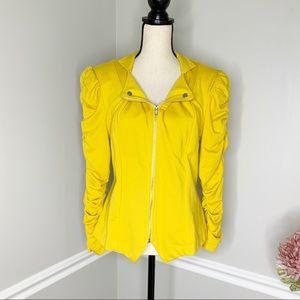 NEW DIRECTIONS Mustard Yellow ruffle sleeve jacket
